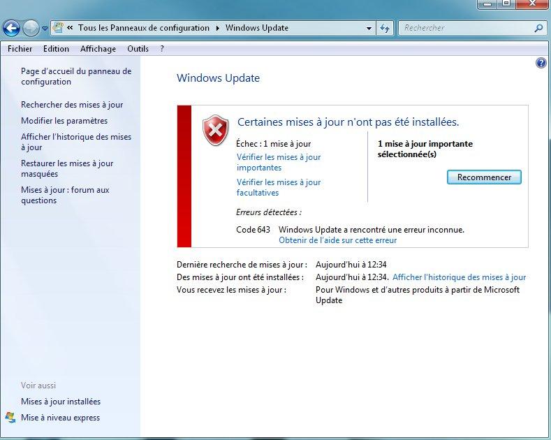 Erreur windows update 643 java update popup windows 7