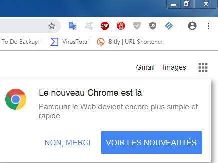 Nouveau Chrome Fenêtre Pop Up De Chrome
