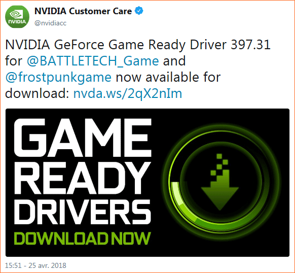 Windows 10 : Pilotes graphiques / Hotfixes Nvidia GeForce