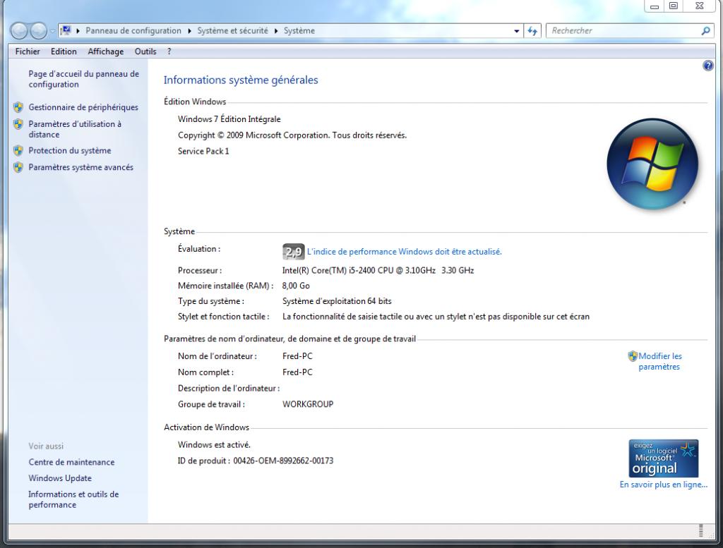 Windows activation technologies - Performance du bureau pour windows aero ...