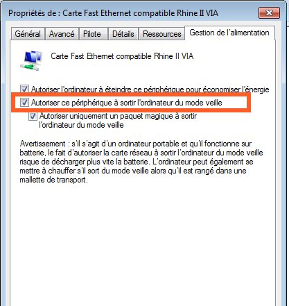 carte fast ethernet compatible rhine ii via windows 7