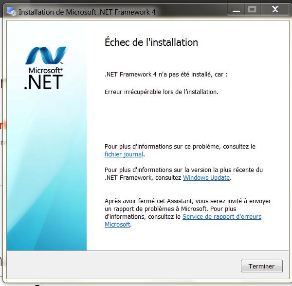 Réparation windows 7 et NET.framework
