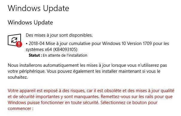 windows 10 impossible dinstaller mise à jour 1709
