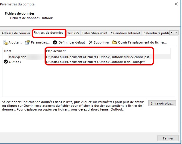 Transferer mail outlook vers cle usb