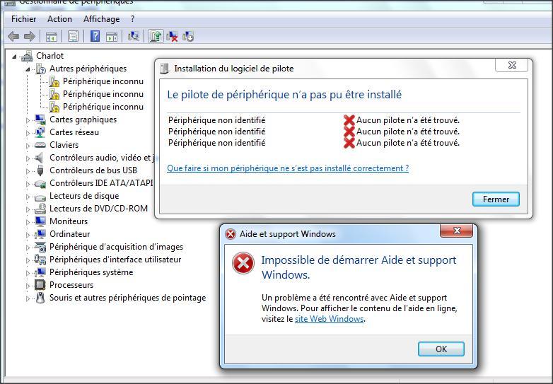 désinstallation des pilotes Windows 7
