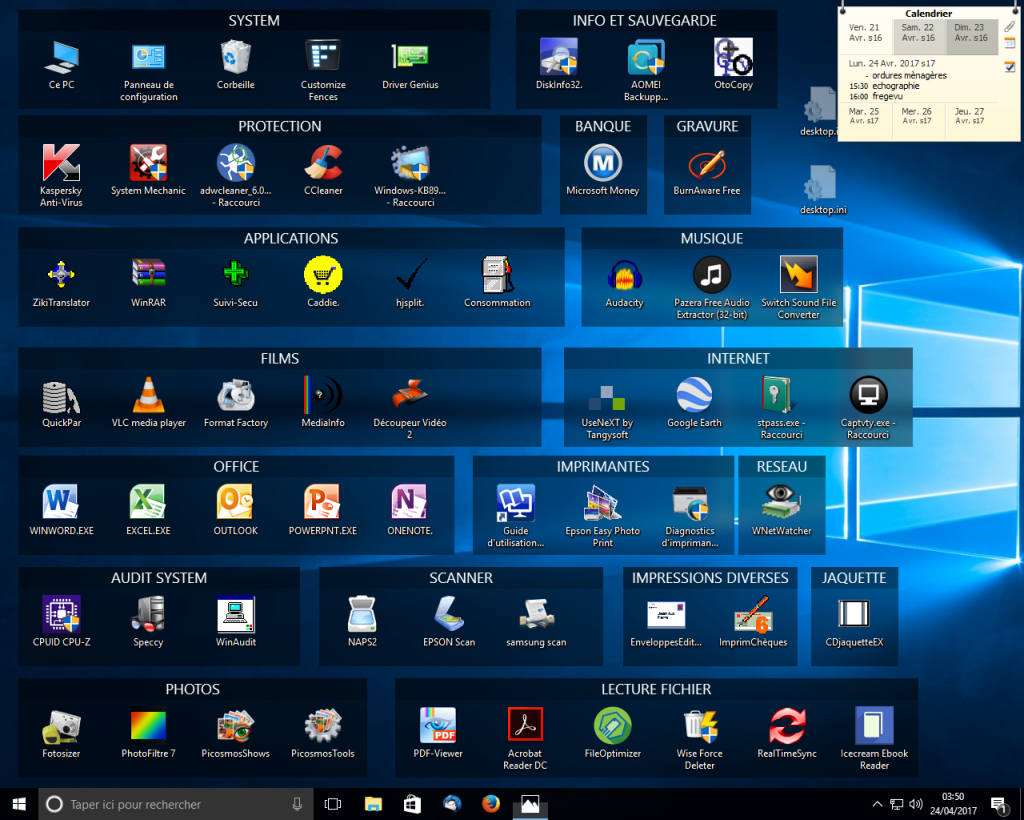 Organiser son bureau sous win 10 for Windows 7 bureau vide
