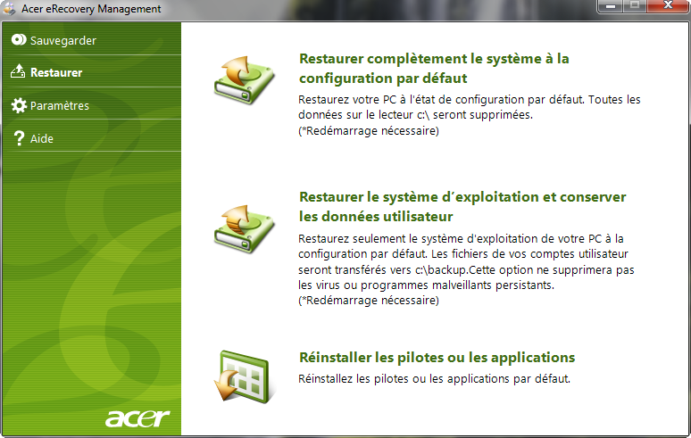 Restauration Pc Impossible  Acer