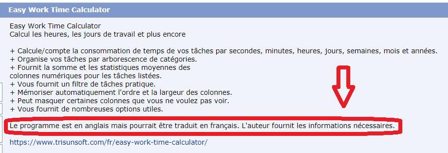 Comment obtenir easy work time calculator en français ?