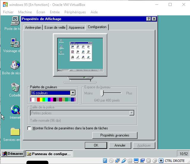 Windows 95 Virtualbox 256 Colors