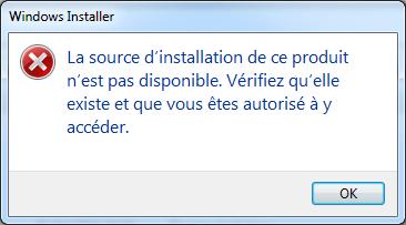 La source d'installation de msi n'est pas disponible