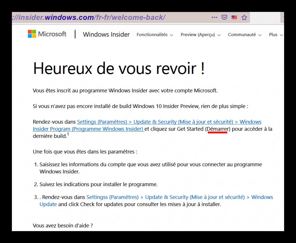 Problème accès Windows Insider