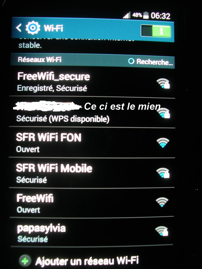 Connexion WiFi avec Galaxy S3